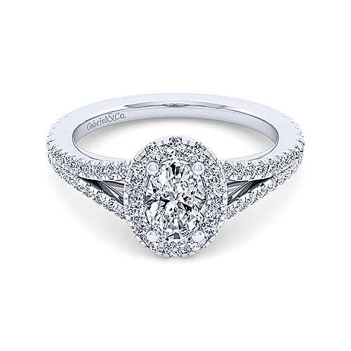 Gabriel - Viola 14k White Gold Oval Halo Engagement Ring