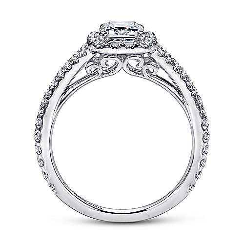 Viola 18k White Gold Emerald Cut Halo Engagement Ring angle 2