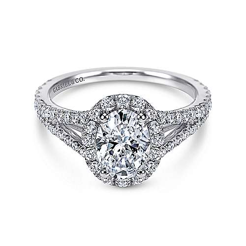 Gabriel - Viola 18k White Gold Oval Halo Engagement Ring
