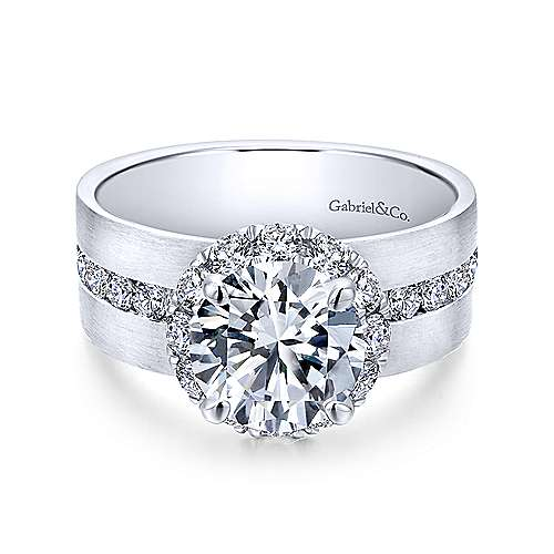 Gabriel - Virginia 18k White Gold Round Halo Engagement Ring