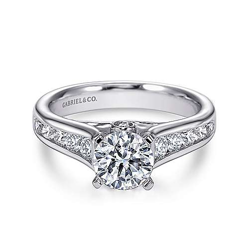 Gabriel - Vitalia 14k White Gold Round Straight Engagement Ring