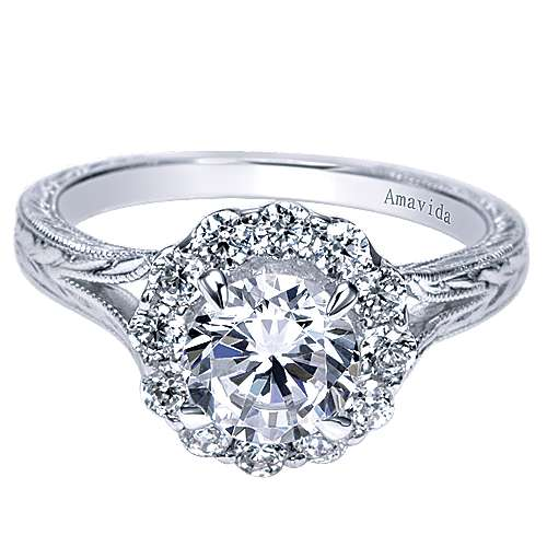 Gabriel - Viva 18k White Gold Round Halo Engagement Ring