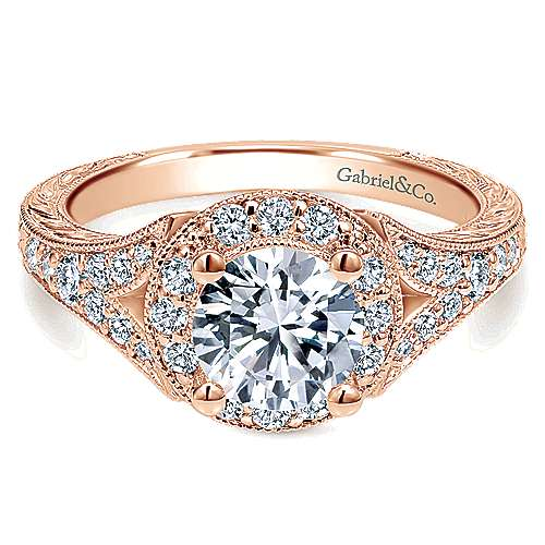 Gabriel - Vivian 14k Pink Gold Round Halo Engagement Ring