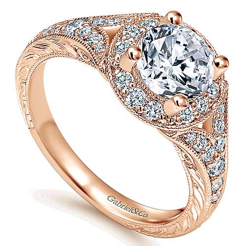Vivian 14k Rose Gold Round Halo Engagement Ring angle 3