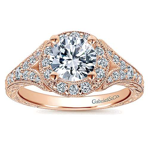 Vivian 14k Rose Gold Round Halo Engagement Ring angle 5