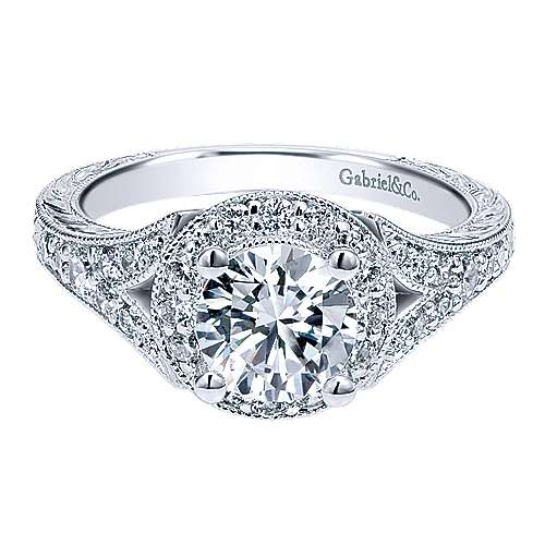 Gabriel - Vivian 14k White Gold Round Halo Engagement Ring