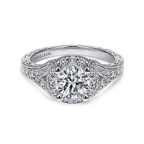 Vivian 14k White Gold Round Halo Engagement Ring angle 1