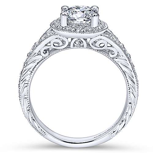 Vivian 14k White Gold Round Halo Engagement Ring angle 2