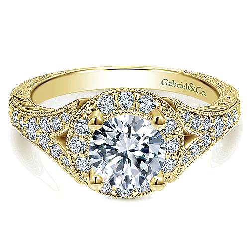 Gabriel - Vivian 14k Yellow Gold Round Halo Engagement Ring