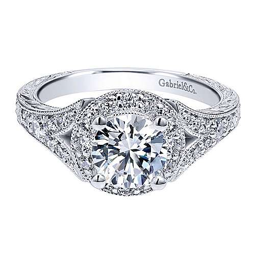 Gabriel - Vivian Platinum Round Halo Engagement Ring