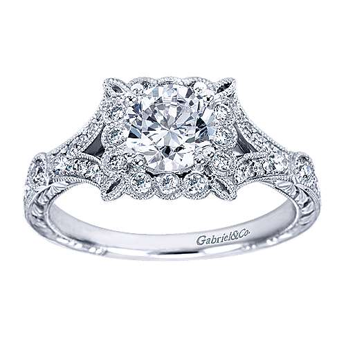 Vivid Platinum Round Halo Engagement Ring angle 5
