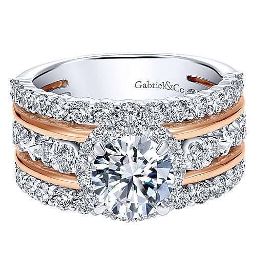 Gabriel - Wave 18k White And Rose Gold Round Halo Engagement Ring