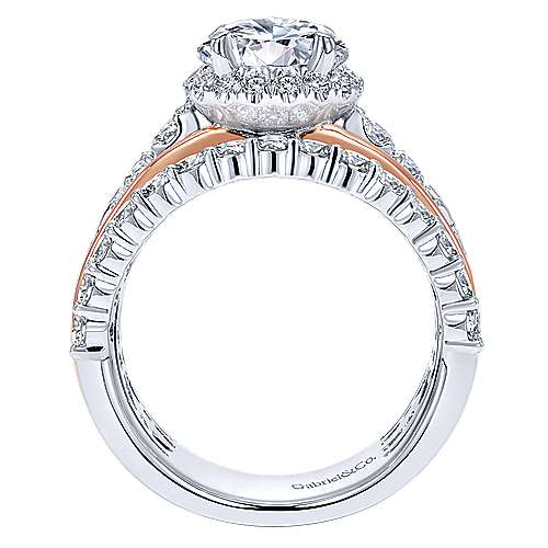 Wave 18k White And Rose Gold Round Halo Engagement Ring angle 2