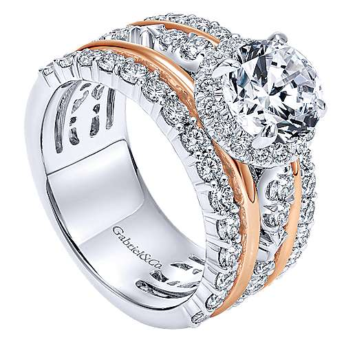 Wave 18k White And Rose Gold Round Halo Engagement Ring angle 3