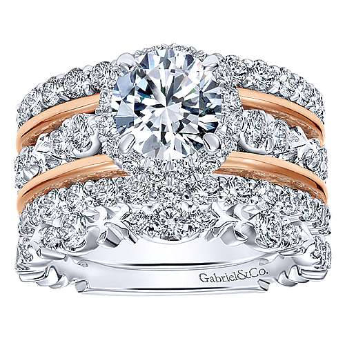 Wave 18k White And Rose Gold Round Halo Engagement Ring angle 4