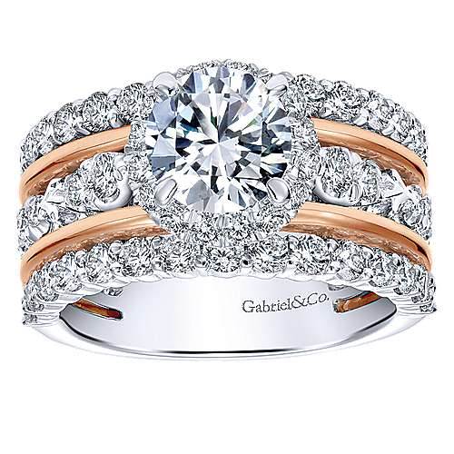 Wave 18k White And Rose Gold Round Halo Engagement Ring angle 5
