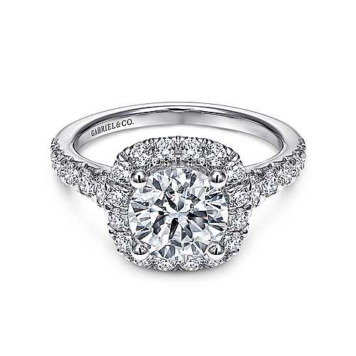 Wendy 18k White Gold Round Halo Engagement Ring angle 1