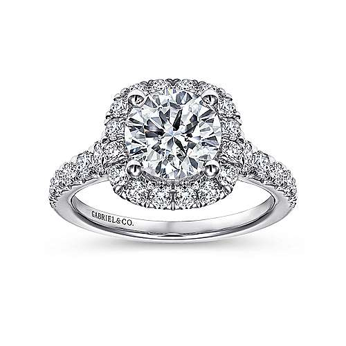 Wendy 18k White Gold Round Halo Engagement Ring angle 5
