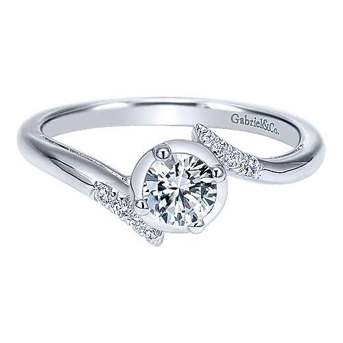 Gabriel - West 14k White Gold Round Bypass Engagement Ring