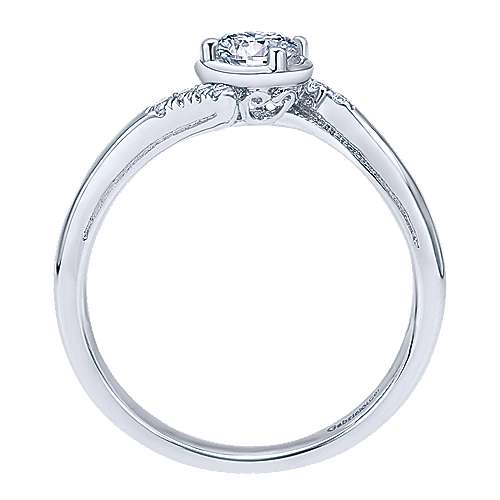 West 14k White Gold Round Bypass Engagement Ring