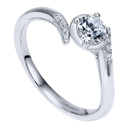 West 14k White Gold Round Bypass Engagement Ring angle 3