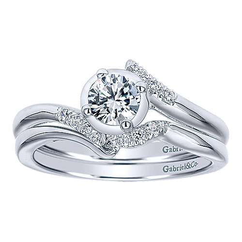 West 14k White Gold Round Bypass Engagement Ring angle 4