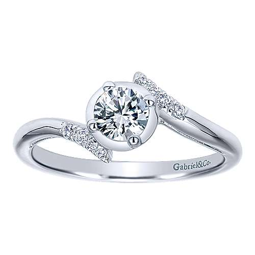 West 14k White Gold Round Bypass Engagement Ring angle 5