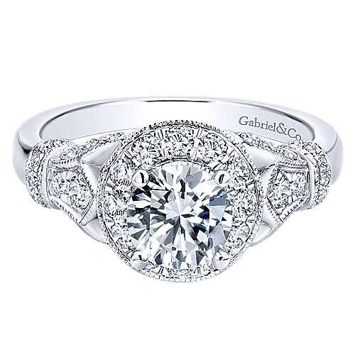 Whitney 14k White Gold Round Halo Engagement Ring angle 1