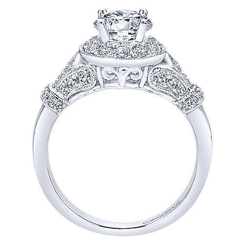 Whitney 14k White Gold Round Halo Engagement Ring angle 2