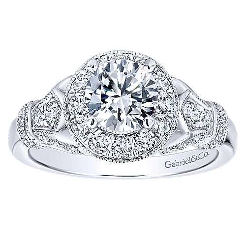 Whitney 14k White Gold Round Halo Engagement Ring angle 5
