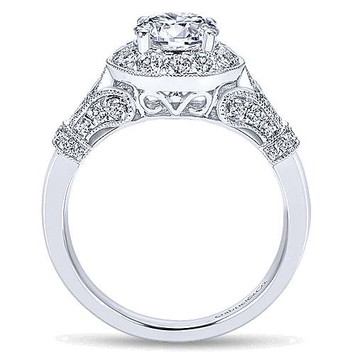 Whitney 14k White Gold Round Halo Engagement Ring