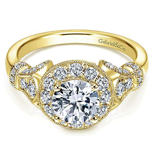Gabriel - Whitney 14k Yellow Gold Round Halo Engagement Ring