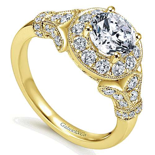 Whitney 14k Yellow Gold Round Halo Engagement Ring angle 3