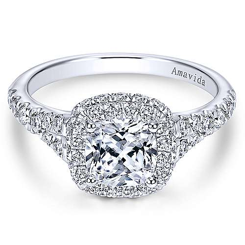 Wilde 18k White Gold Cushion Cut Double Halo Engagement Ring