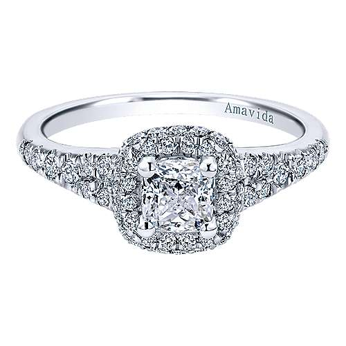 Gabriel - Wilde 18k White Gold Cushion Cut Halo Engagement Ring