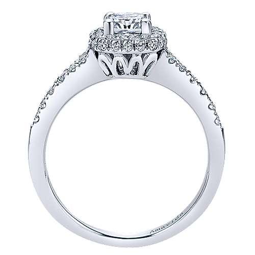 Wilde 18k White Gold Cushion Cut Halo Engagement Ring angle 2