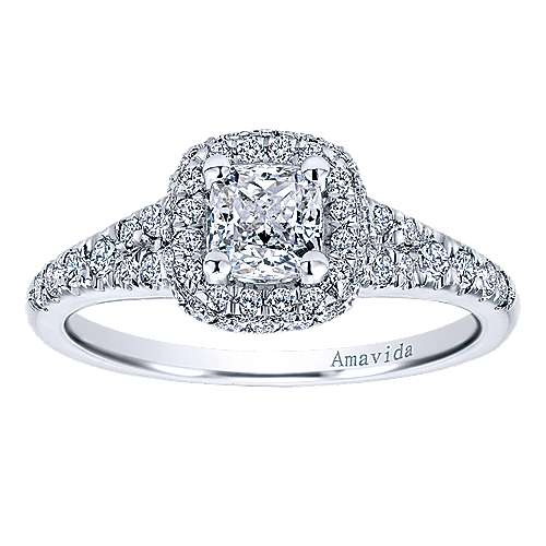 Wilde 18k White Gold Cushion Cut Halo Engagement Ring