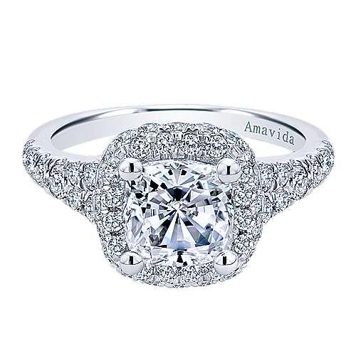 Gabriel - Wilde 18k White Gold Cushion Cut Halo Engagement Ring