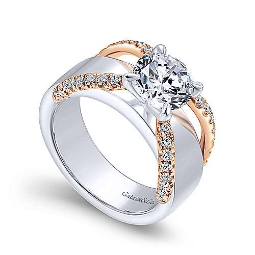 Willa 18k White And Rose Gold Round Straight Engagement Ring angle 3