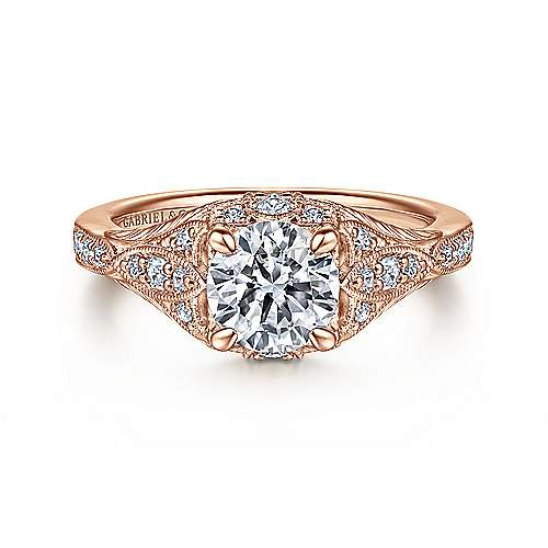 Gabriel - Windsor 14k Rose Gold Round Halo Engagement Ring