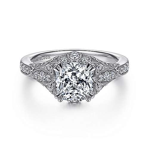 Gabriel - Windsor 14k White Gold Cushion Cut Halo Engagement Ring