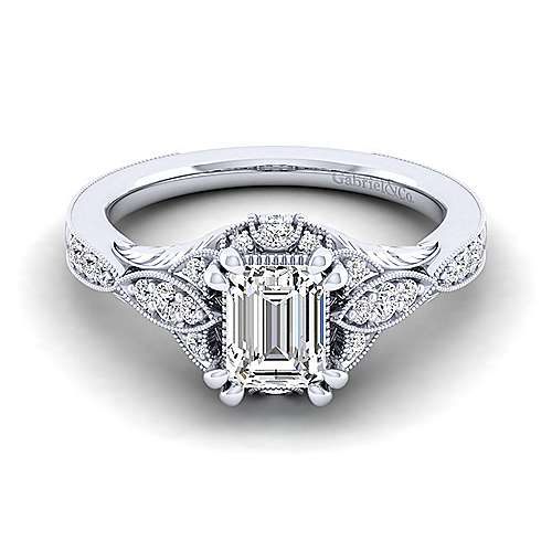 Gabriel - Windsor 14k White Gold Emerald Cut Halo Engagement Ring