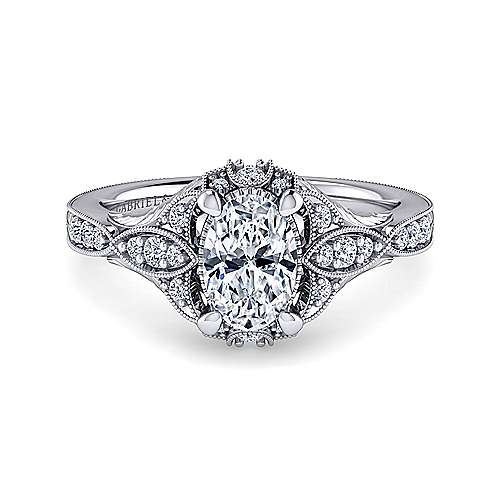 Gabriel - Windsor 14k White Gold Oval Halo Engagement Ring