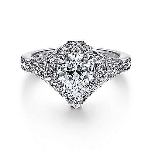 Gabriel - Windsor 14k White Gold Pear Shape Halo Engagement Ring