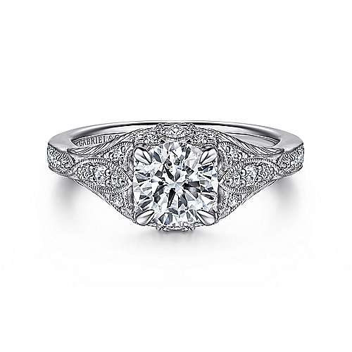 Windsor 14k White Gold Round Halo Engagement Ring angle 1