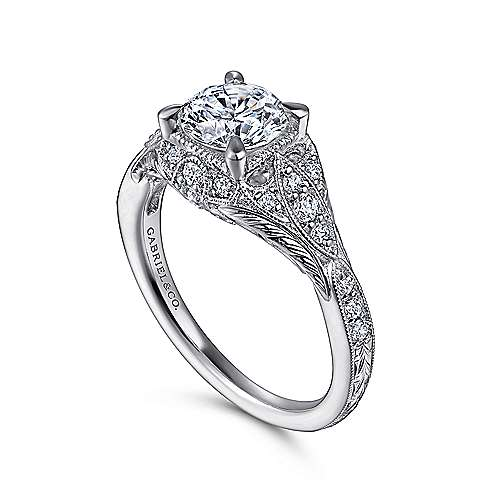 Windsor 14k White Gold Round Halo Engagement Ring angle 3