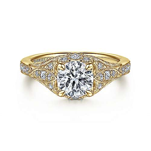 Gabriel - Windsor 14k Yellow Gold Round Halo Engagement Ring