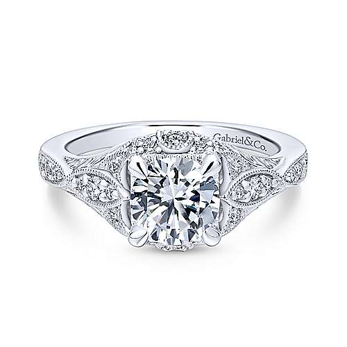 Gabriel - Windsor 18k White Gold Round Halo Engagement Ring