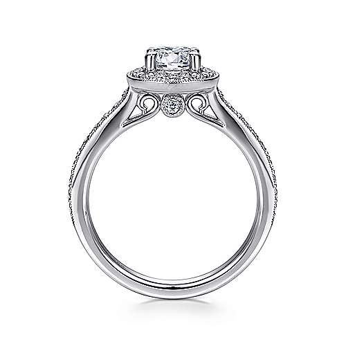 Winnie 14k White Gold Round Halo Engagement Ring angle 2
