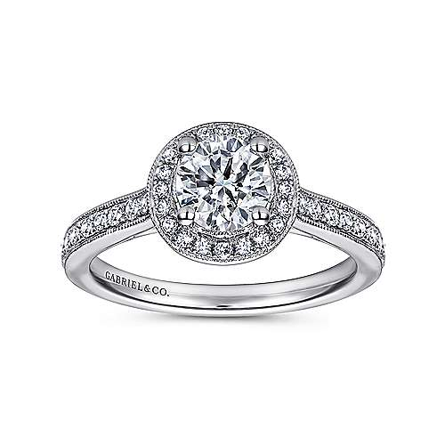 Winnie 14k White Gold Round Halo Engagement Ring angle 5